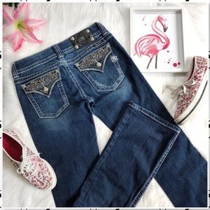 Miss Me Swarovski Flap Pocket Bootcut Bling Jeans